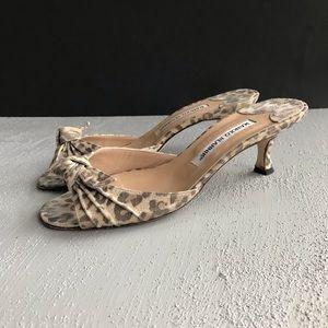 Manolo Blahnik Animal Print Knot Slides Sandals 38